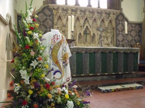 Flower and Vestment display at All Saints