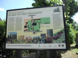 History board in churchyard