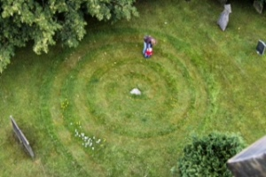 Labyrinth cut into the grass - a view from the top of the tower
