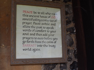 Welcome prayer on door